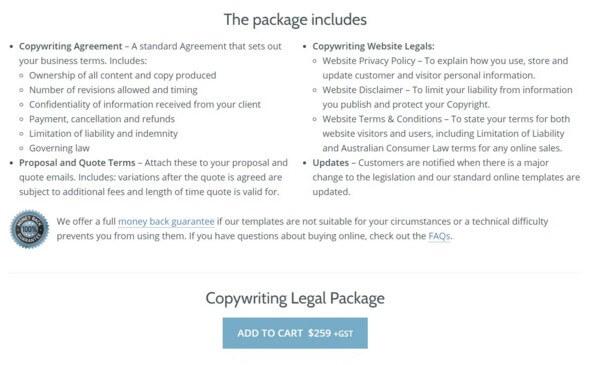 Пакет юридических услуг для копирайтеров за 259 евро