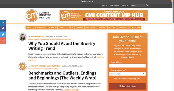 Content Marketing Institute (CMI) —энциклопедические знания для контент-маркетологов